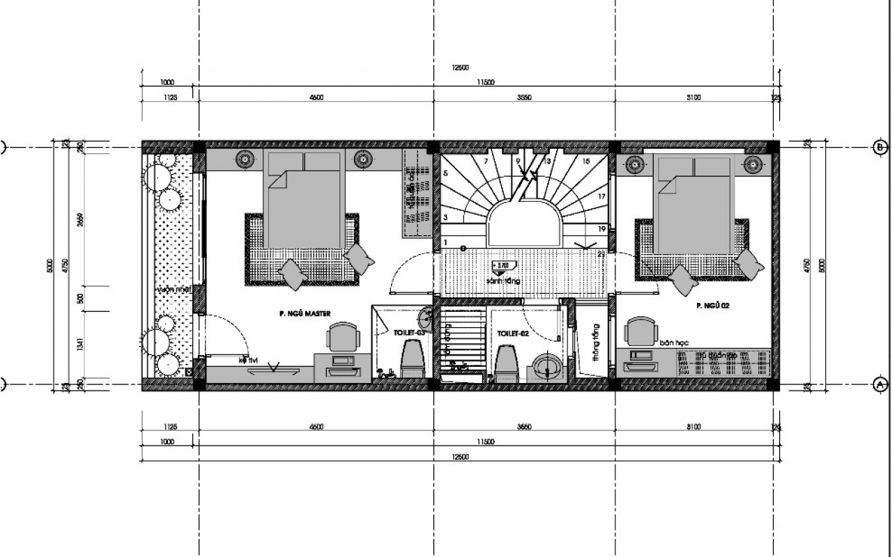 Mẫu thiết kế nhà ống 3 tầng 5x15m đẹp