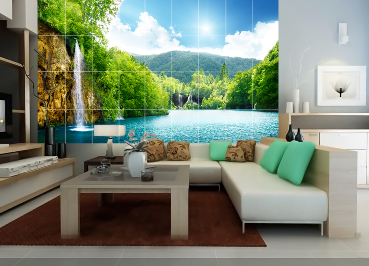 Tranh gạch 3d phong cảnh ốp tường trang trí phòng khách phòng ngủ giá rẻ