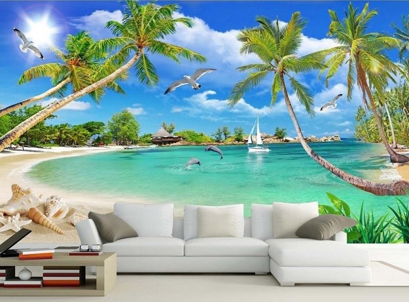 10 Mẫu tranh gạch 3d phong cảnh ốp tường phòng khách đẹp giá rẻ