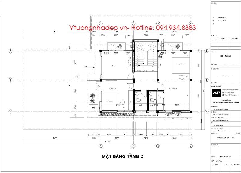 Bản vẽ mẫu biệt thự nhà vườn 2 tầng đẹp ở nông thôn 100m2